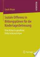 Soziale Differenz in Bildungsplänen für die Kindertagesbetreuung