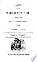 Laws of the State of New York Passed at the Sessions of the Legislature