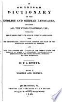 Amerikanisches W  rterbuch Der Englischen und Deutschen Sprache