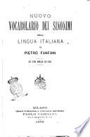 Nuovo vocabolario dei sinonimi della lingua italiana ad uso delle scuole di Pietro Fanfani