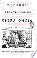 Eminentissimi Domini D. Joannis Bona ... Opera omnia, etc