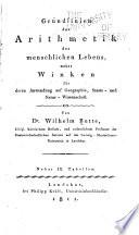Grundlinien Der Arithmetik Des Menschlichen Lebens book