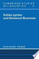 Italian Syntax and Universal Grammar