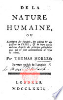 De la Nature Humaine; ou, Exposition des Facultés ... de l'Âme ... Ouvrage traduit de l'Anglois. [By the Baron d'Holbach.]