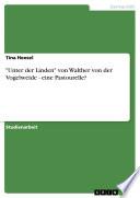 """""""Unter der Linden"""" von Walther von der Vogelweide - eine Pastourelle?"""