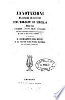 Annotazioni filologiche ed estetiche sull' egloghe di Virgilio