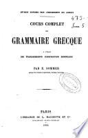 Cours complet de grammaire grecque