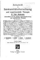 Zeitschrift F  r Immunit  tsforschung und Experimentelle Therapie
