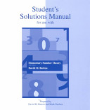 Student's Sulutions Manual, for Use with Elementary Number Theory