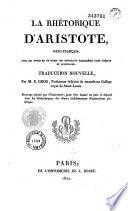 La Rhetorique D'Aristote Grec-Francais