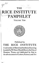 The Rice Institute Pamphlet
