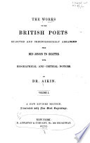 The Works of the British Poets  Selected and Chronologically Arranged     From Ben Jonson to Beattie