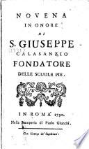 Novena in onore di S  Giuseppe Calasanzio Fondatore delle scuole pie