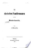 Die slavischen Familiennamen in der Niederlausitz