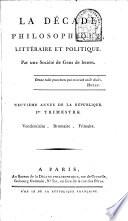 illustration La Décade philosophique, littéraire et politique