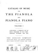 Catalog of Music for the Pianola and Pianola Piano