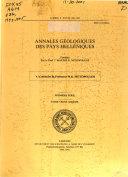 Annales G Ologiques Des Pays Hell Niques book