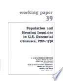 Population And Housing Inquiries In U S Decennial Censuses 1790 1970 book