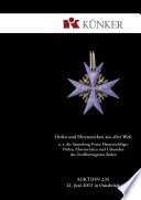Künker Auktion 235 - Orden und Ehrenzeichen aus aller Welt   u. a. die Sammlung Franz Hannesschläger - Orden, Ehrenzeichen und Urkunden des Großherzogtums Baden