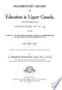 Documentary History of Education in Upper Canada  1872