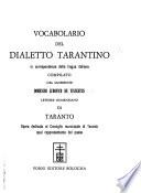 Vocabolario del dialetto tarantino in corrispondenza della lingua italiana