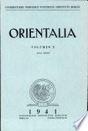 Orientalia  Nova Series 1941