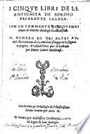 I cinque libri de le antichita de Beroso  sacerdote caldeo