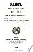 Faust, drame en 3 actes