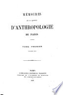 M  moires de la Soci  t   d anthropologie de Paris