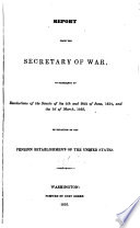Report from the Secretary of War: Middle Atlantic States