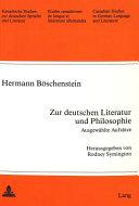 Zur deutschen Literatur und Philosophie