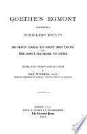 Goethe s Egmont  together with Schiller s essays