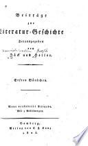 Beiträge zur Literaturgeschichte