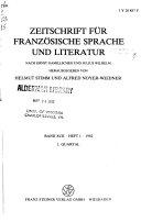 ZFSL  Zeitschrift f  r franz  sische Sprache und Literatur