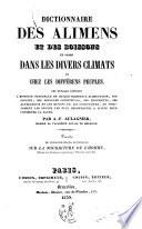 Dictionnaire des alimens et des boissons en usage dans les divers climats et chez les différens peuples