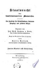 Staatsrecht der konstitutionellen Monarchie