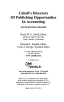 Cabell s Directory of Publishing Opportunities in Accounting