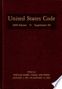 United States Code 2000 Edition Supplement III