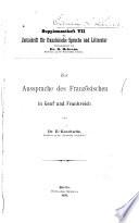 Supplementheft ... der Zeitschrift für französische Sprache und Literatur