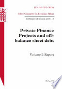 Private Finance Projects And Off Balance Sheet Debt