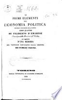 Dei primi elementi dell economia politica secondo i progressi della scienza libri quattro