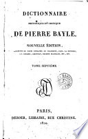 Dictionnaire historique et critique de Pierre Bayle  7
