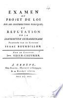 Examen du projet de loi sur les contributions publiques et réfutation de la contribution extraordinaire proposée par le Citoyen I. Bourdillon