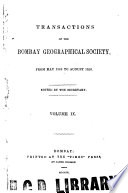 The Transactions Of The Bombay Geographical Society