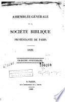 Assemblée génerale de la Société biblique protestante de Paris