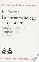 La phénoménologie en questions