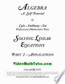 Video Math Tutor  Algebra  Solving Linear Equations     Part 2  Applications