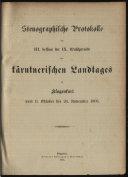 Stenographische Protokolle der ... des Kärntnerischen Landtages zu Klagenfurt