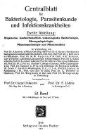 Zentralblatt für Bakteriologie, Parasitenkunde Infektionskrankheiten und Hygiene