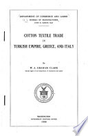 Cotton Textile Trade in Turkish Empire  Greece  and Italy